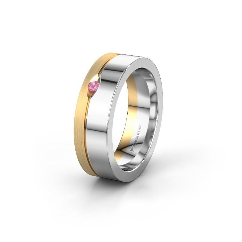 Trouwring WH0329L16B 585 witgoud roze saffier ±6x2 mm