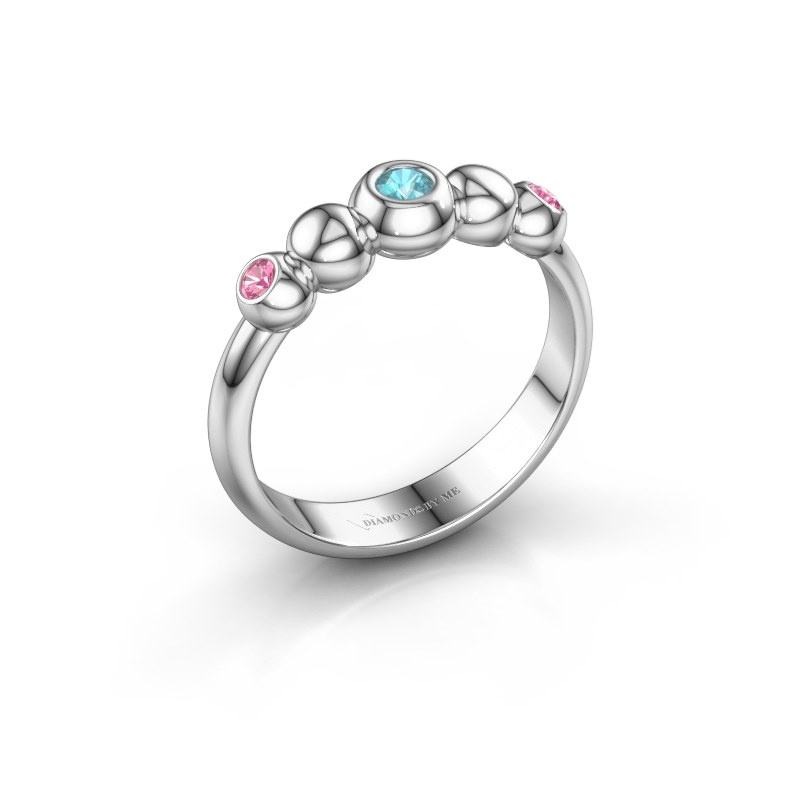 Stackable ring Lily 585 white gold blue topaz 2.5 mm