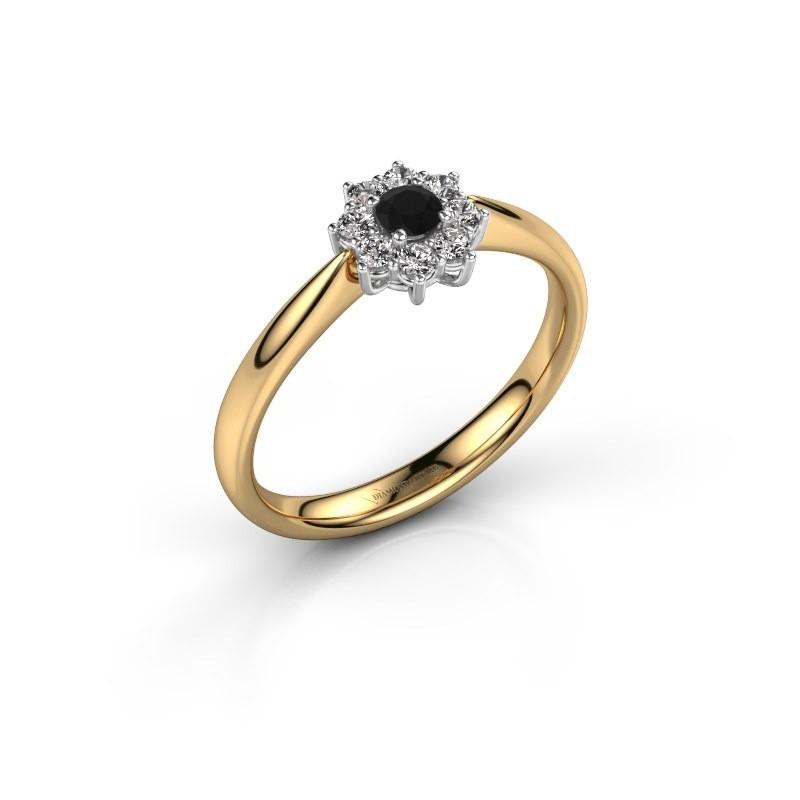 Verlovingsring Carolyn 1 585 goud zwarte diamant 0.12 crt