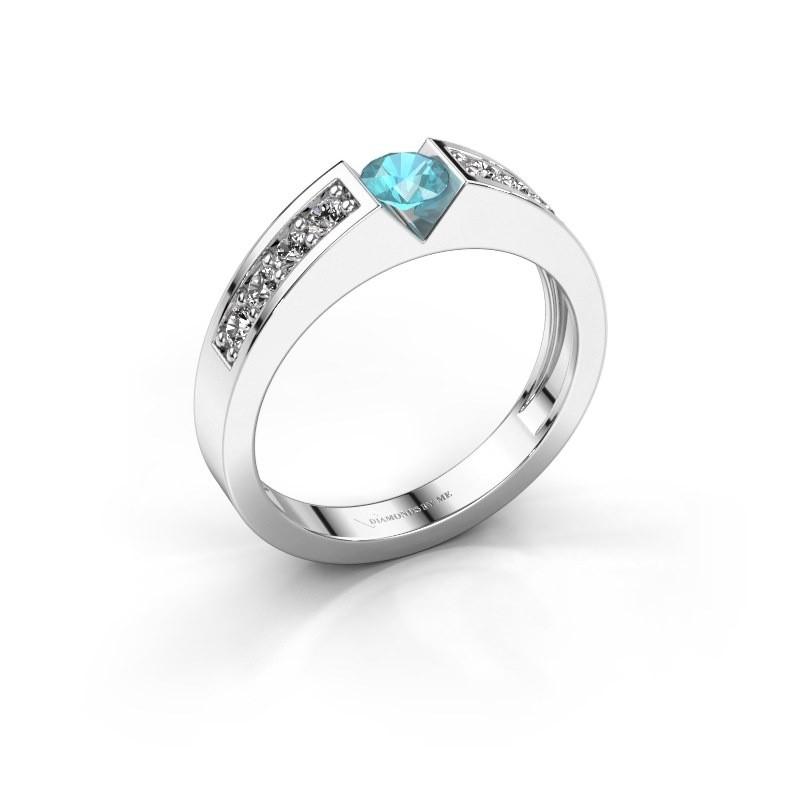 Verlovingsring Lizzy 2 925 zilver blauw topaas 4.2 mm