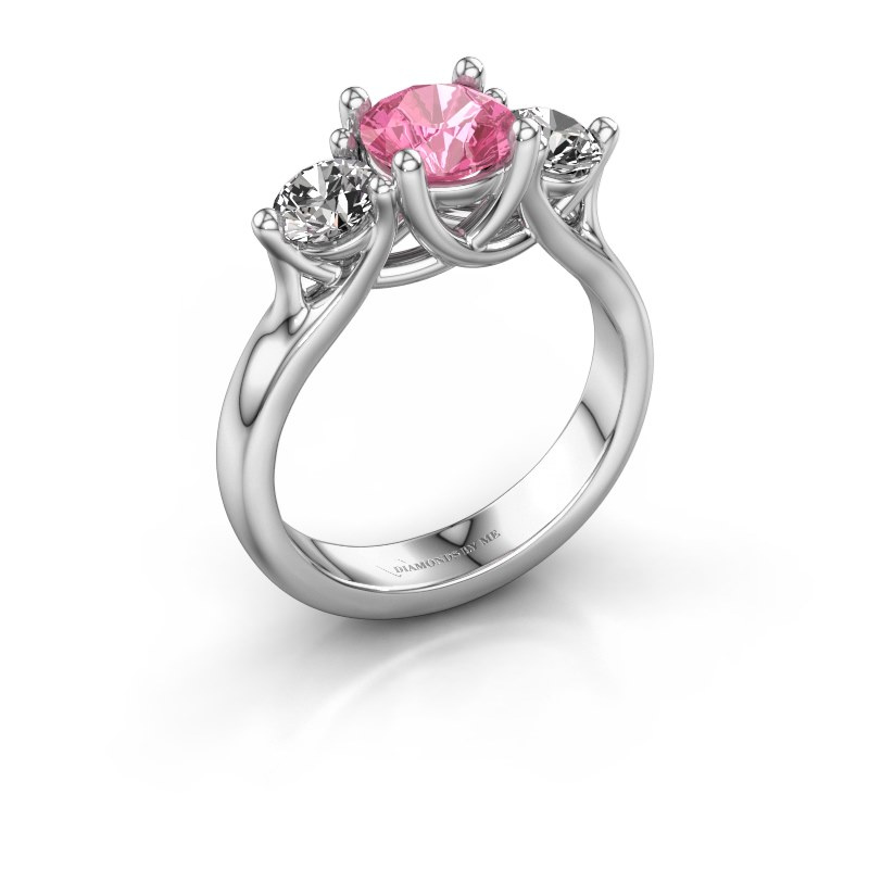Verlovingsring Esila 925 zilver roze saffier 6.5 mm