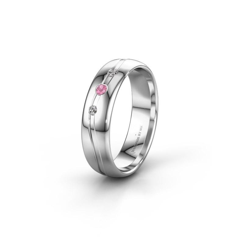 Vriendschapsring WH0907L35X 950 platina roze saffier ±5x1.4 mm