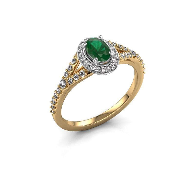 Belofte ring Pamela OVL 585 goud smaragd 7x5 mm