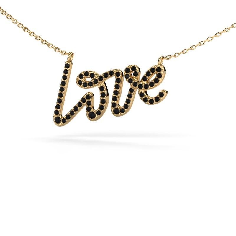 Hanger Love 375 goud zwarte diamant 0.428 crt