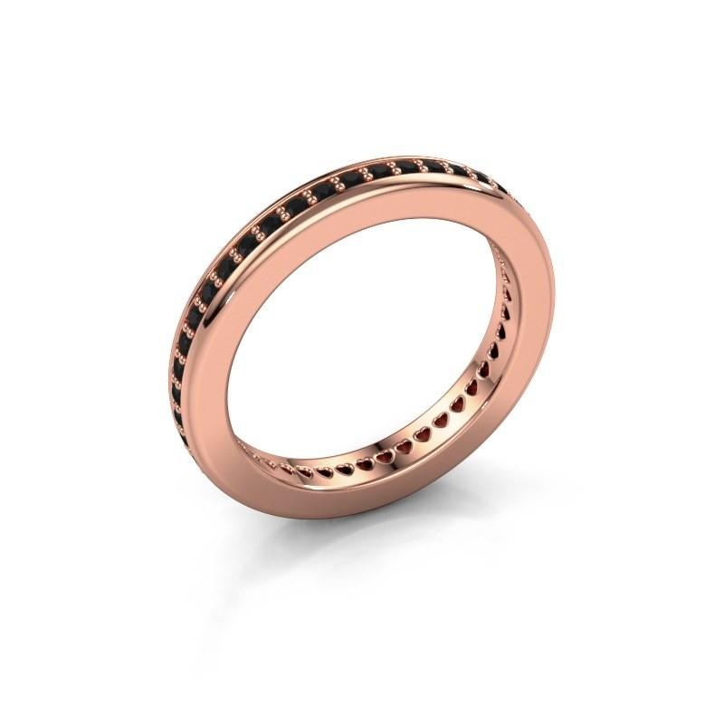Aanschuifring Elvire 3 375 rosé goud zwarte diamant 0.576 crt