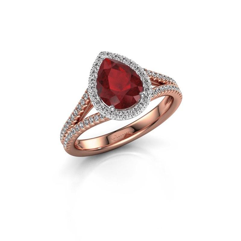 Verlovingsring Verla pear 2 585 rosé goud robijn 8x6 mm