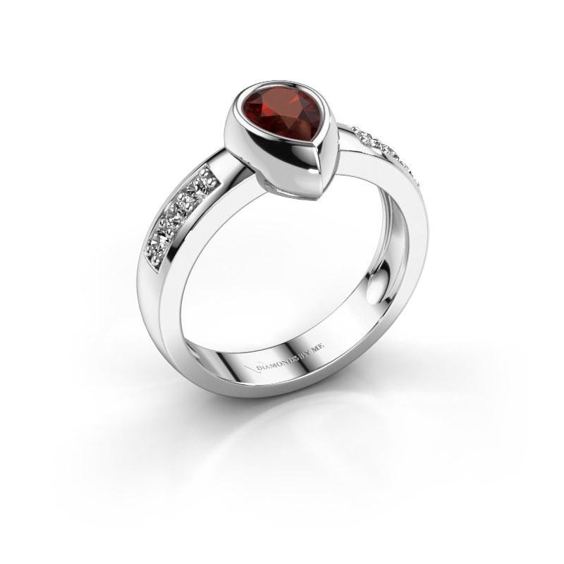 Ring Charlotte Pear 925 silver garnet 8x5 mm