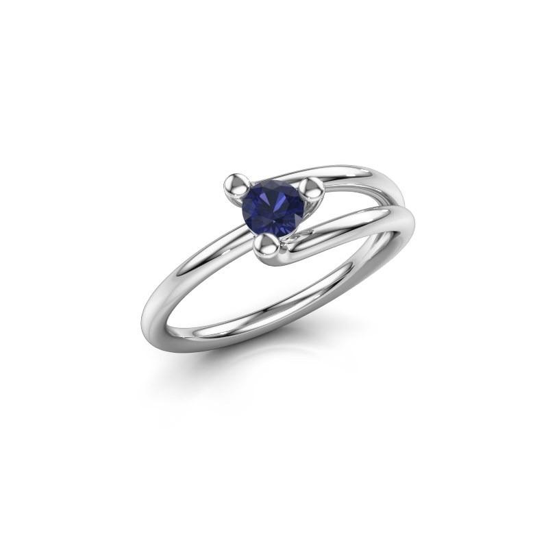 Engagement ring Roosmarijn 585 white gold sapphire 4 mm