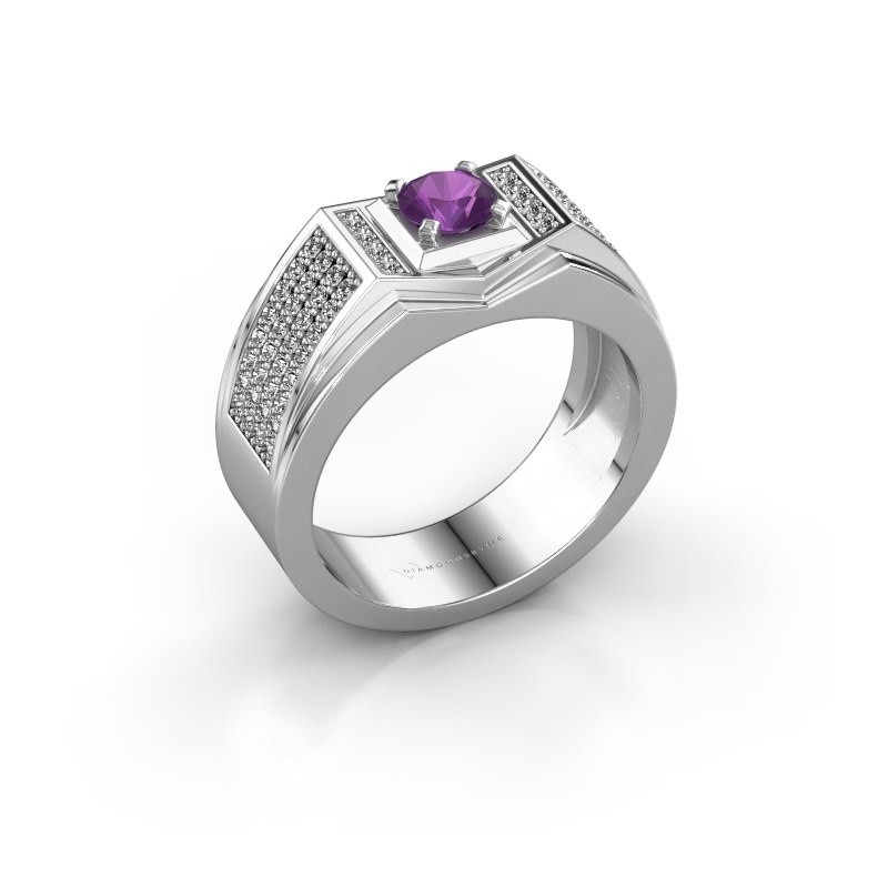 Men's ring Marcel 925 silver amethyst 5 mm