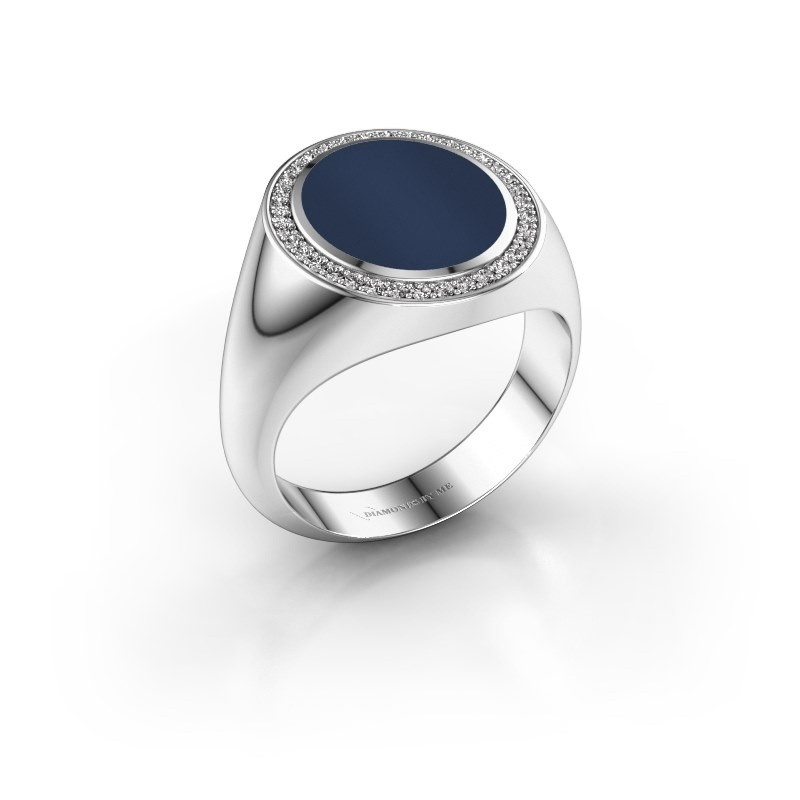 Zegel ring Adam 3 950 platina donker blauw lagensteen 13x11 mm