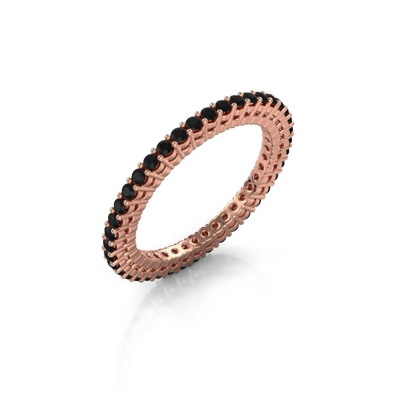 Aanschuifring Rufina 1 375 rosé goud zwarte diamant 0.72 crt