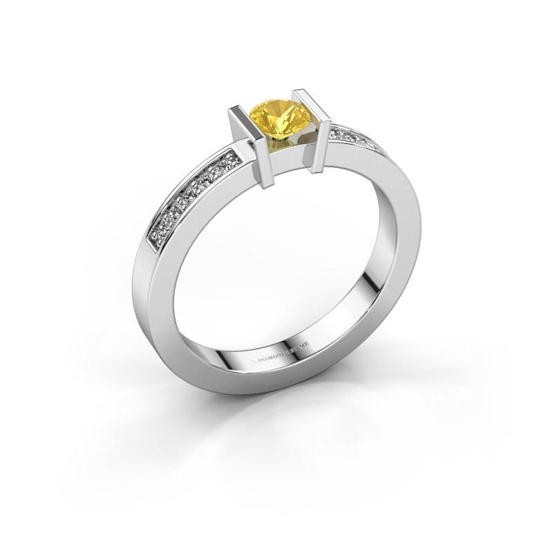 Aanzoeksring Maryam 925 zilver gele saffier 4 mm