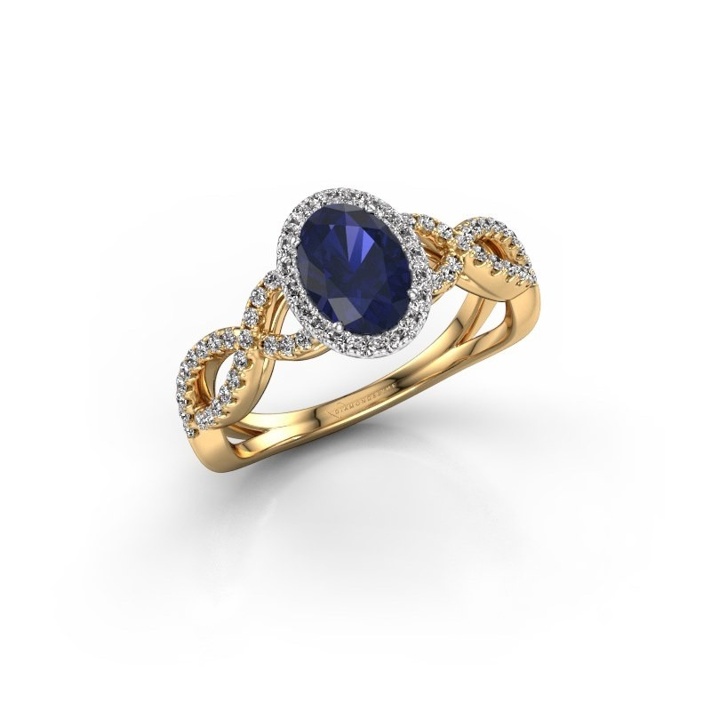 Engagement ring Dionne ovl 585 gold sapphire 7x5 mm