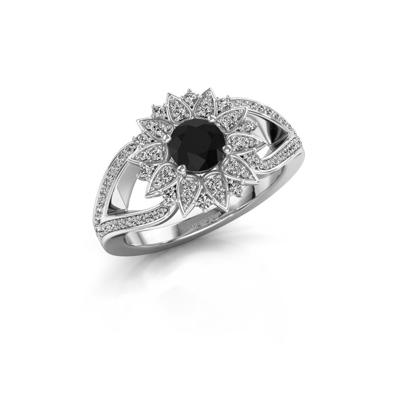 Aanzoeksring Chasidy 2 950 platina zwarte diamant 0.60 crt