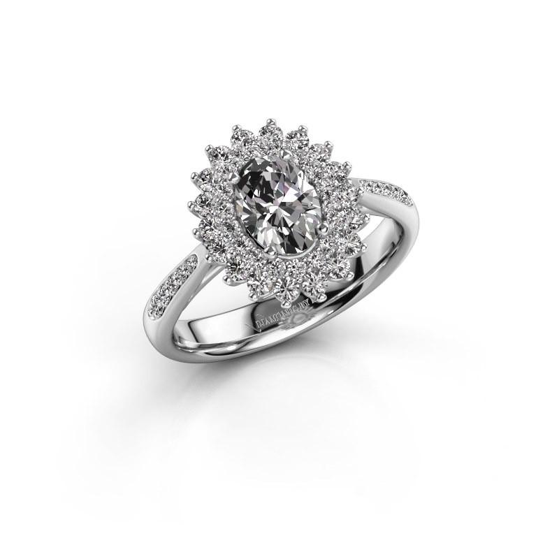 Engagement ring Alina 2 585 white gold zirconia 7x5 mm