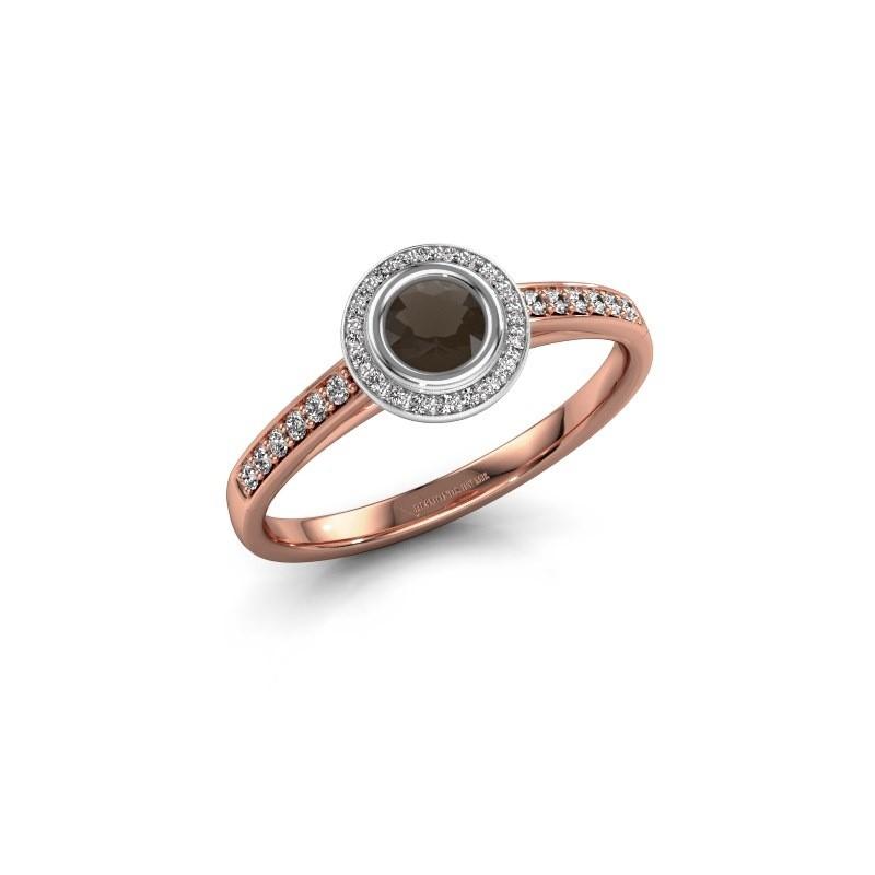 Engagement ring Noud 2 RND 585 rose gold smokey quartz 4 mm