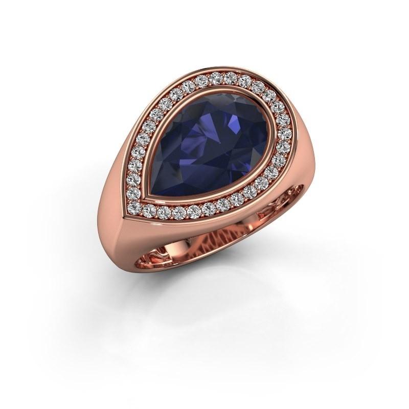 Ring Latashia 375 rosé goud saffier 12x8 mm