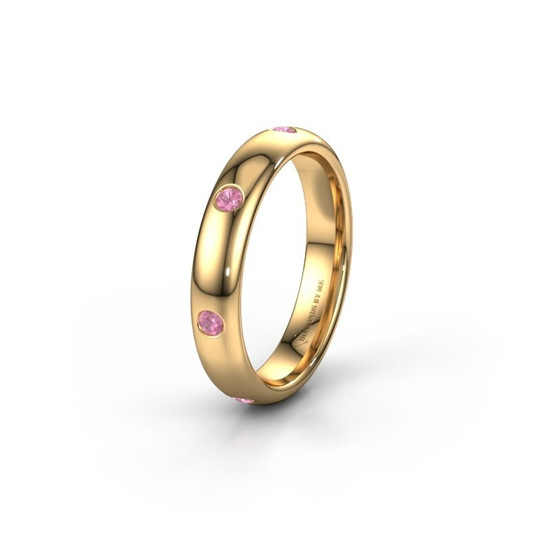 Wedding ring WH0105L34BP 375 gold pink sapphire ±4x2 mm