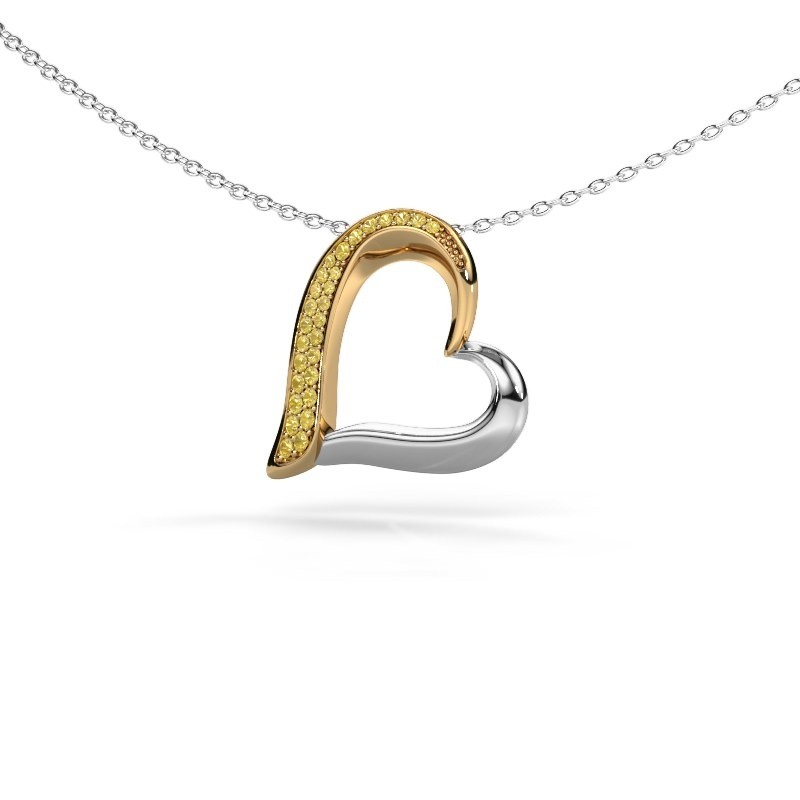 Collier Heart 1 585 or jaune saphir jaune 1.2 mm
