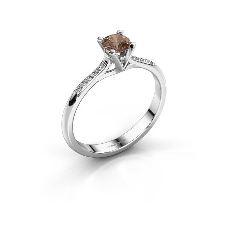 Aanzoeksring Isa 2 925 zilver bruine diamant 0.30 crt