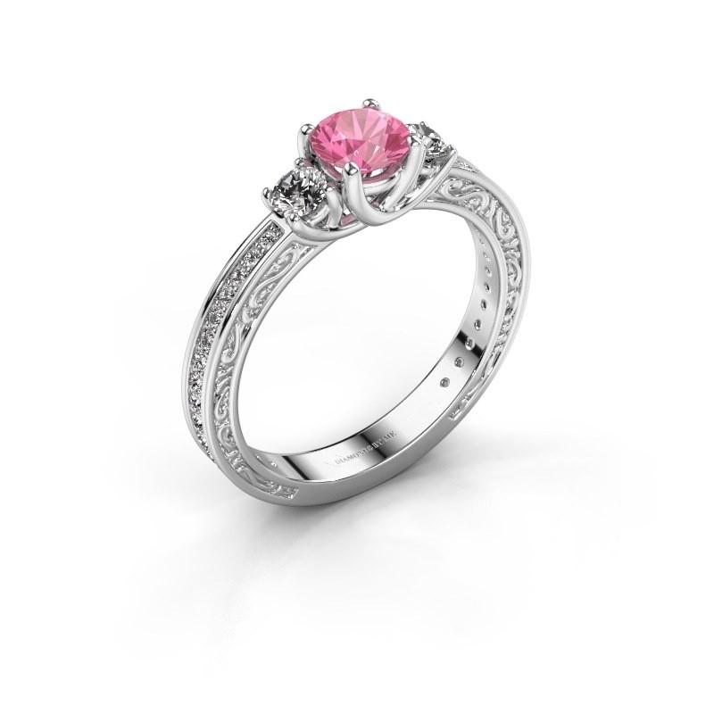 Verlovingsring Betty 2 950 platina roze saffier 5 mm