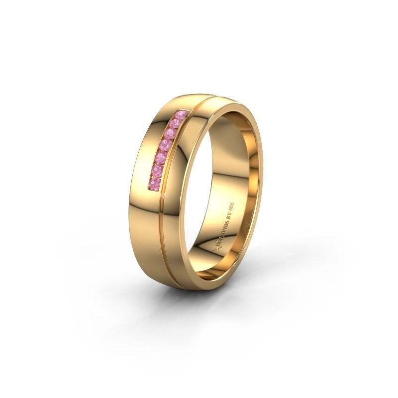 Trouwring WH0308L26AP 585 goud roze saffier ±6x1.7 mm