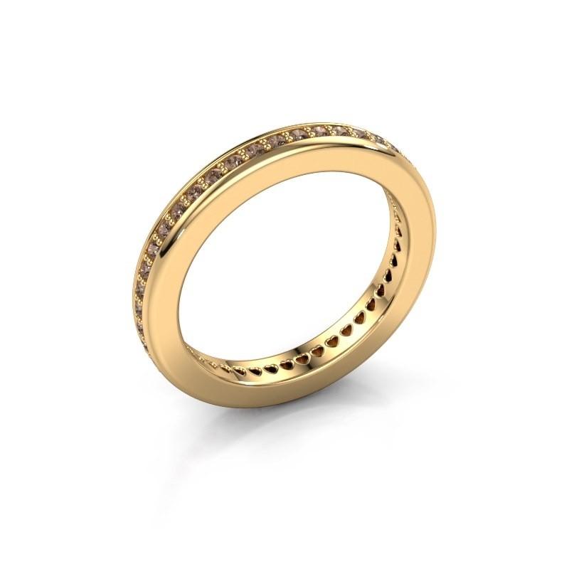 Aanschuifring Elvire 3 375 goud bruine diamant 0.48 crt