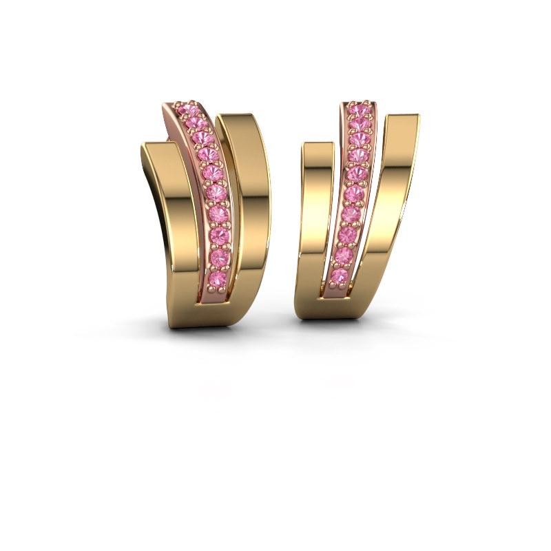 Oorbellen Emeline 585 rosé goud roze saffier 1.1 mm