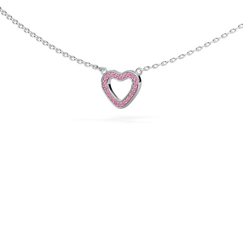 Hanger Heart 4 925 zilver roze saffier 0.8 mm