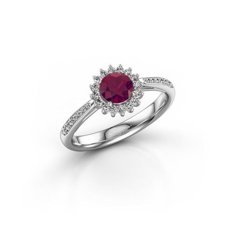 Engagement ring Tilly RND 2 925 silver rhodolite 5 mm