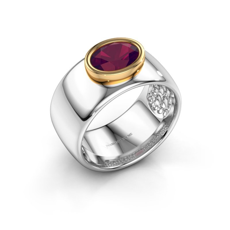 Ring Anouschka 585 white gold rhodolite 8x6 mm