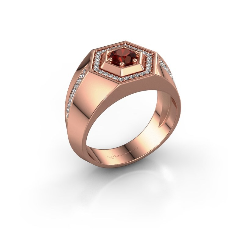 Men's ring Sjoerd 375 rose gold garnet 4.7 mm
