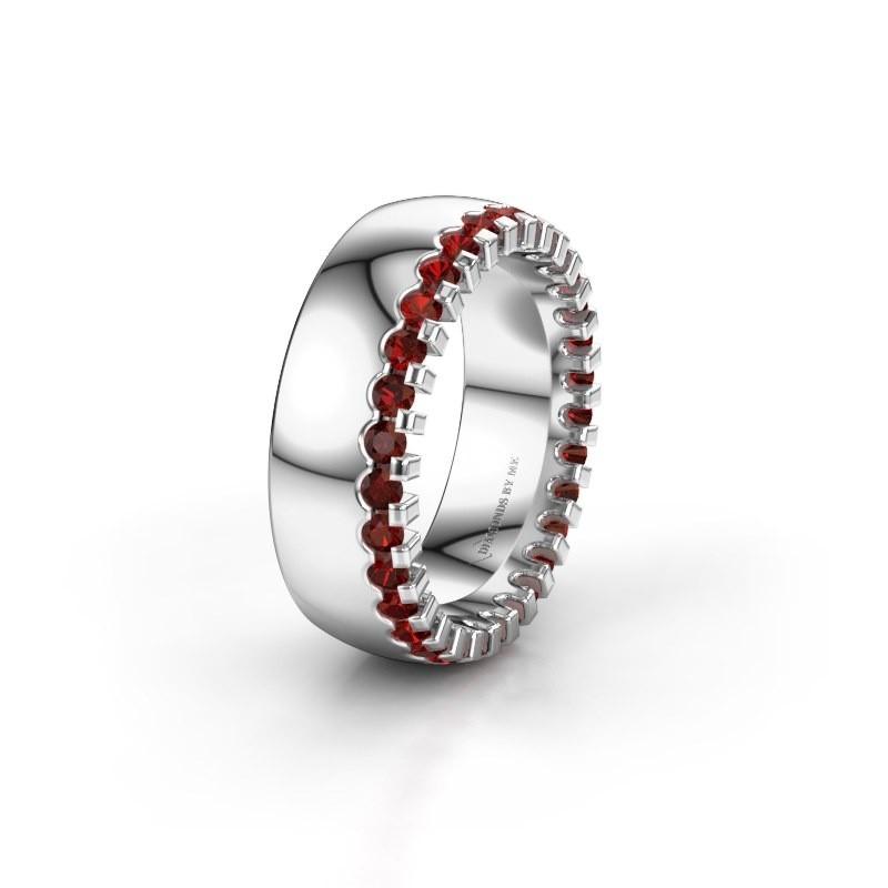 Wedding ring WH6120L27C 925 silver garnet ±7x2.2 mm