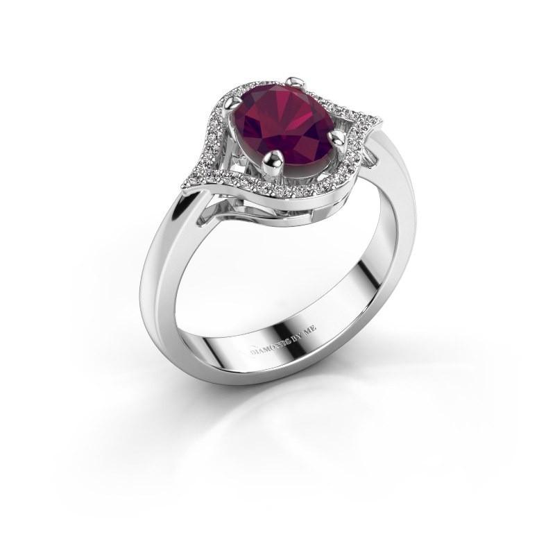 Ring Mendy 950 platina rhodoliet 8x6 mm