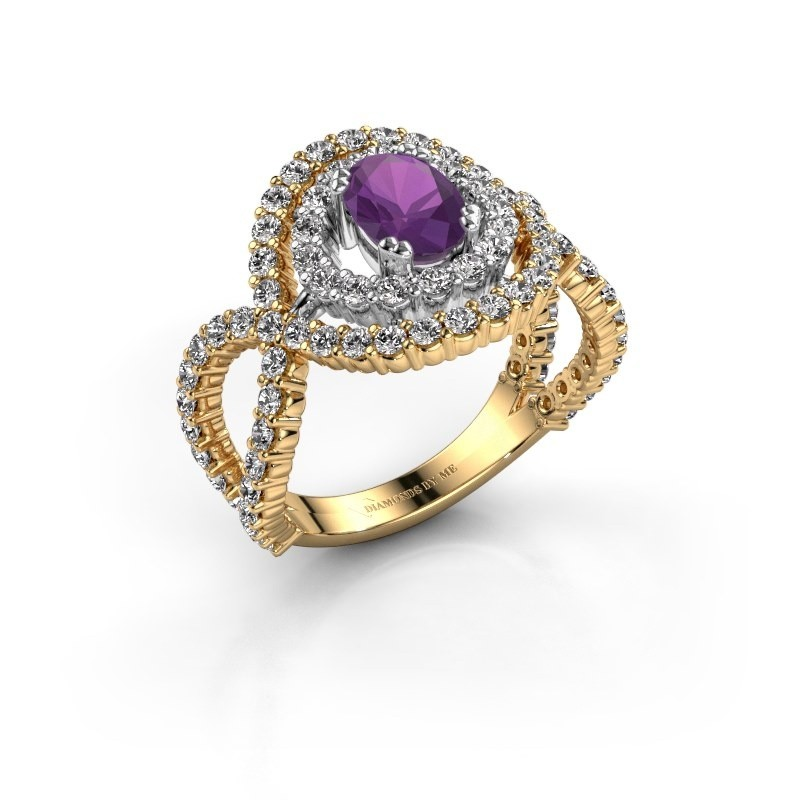 Ring Chau 585 goud amethist 7x5 mm
