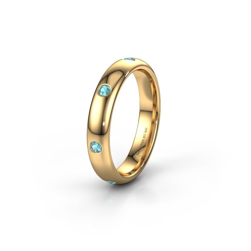 Wedding ring WH0105L34BP 375 gold blue topaz ±0.16x0.08 in