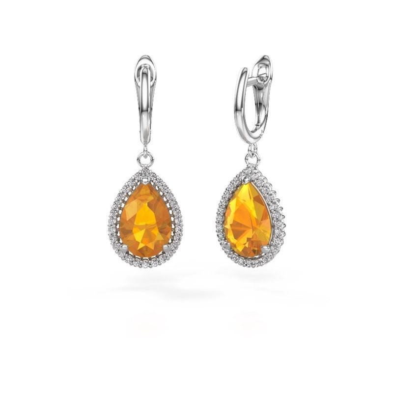 Drop earrings Hana 1 950 platinum citrin 12x8 mm
