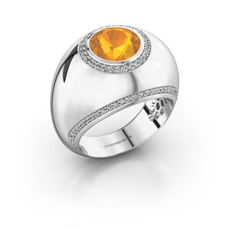 Ring Roxann 585 witgoud citrien 8 mm