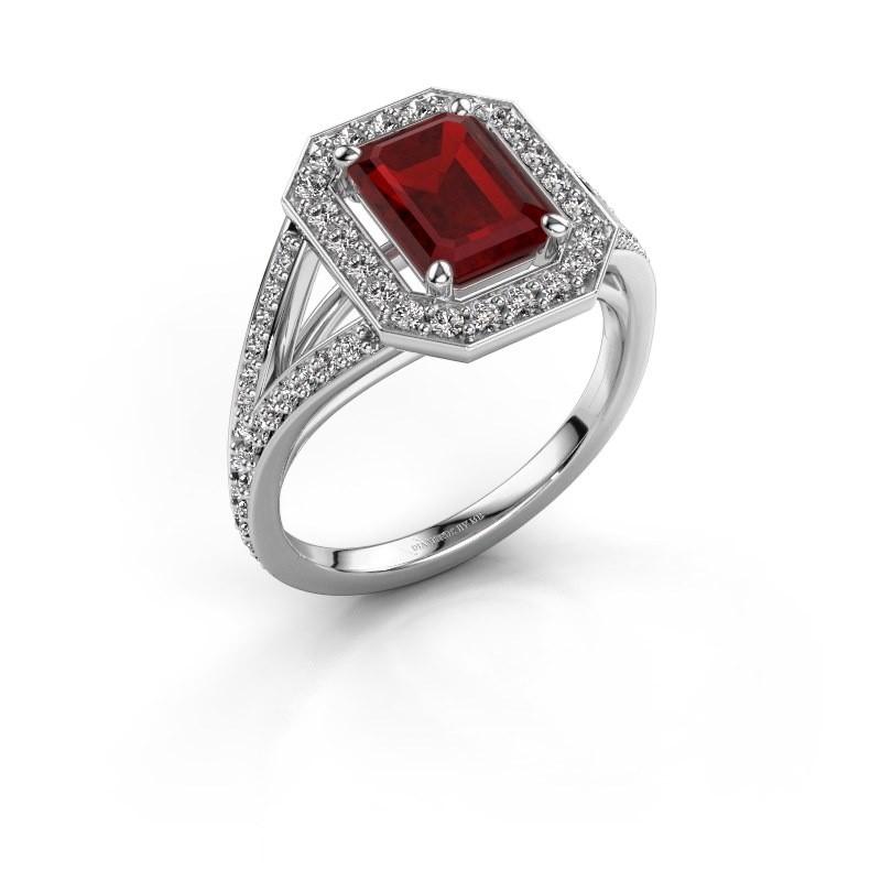 Promise ring Angelita EME 950 platina robijn 8x6 mm
