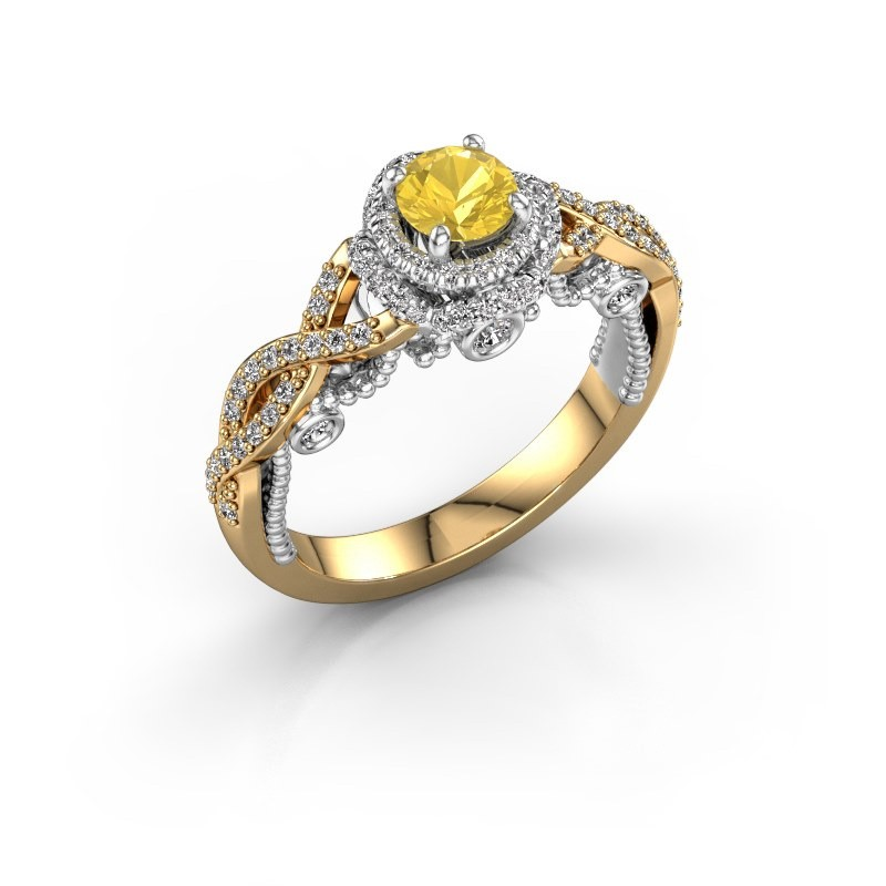 Verlobungsring Leora 585 Gold Gelb Saphir 4.7 mm