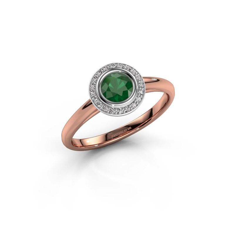 Promise ring Noud 1 RND 585 rose gold emerald 4.7 mm