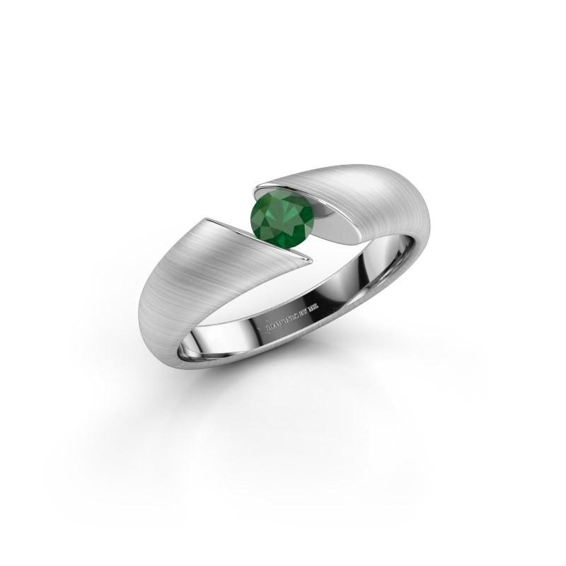 Verlovingsring Hojalien 1 925 zilver smaragd 4 mm