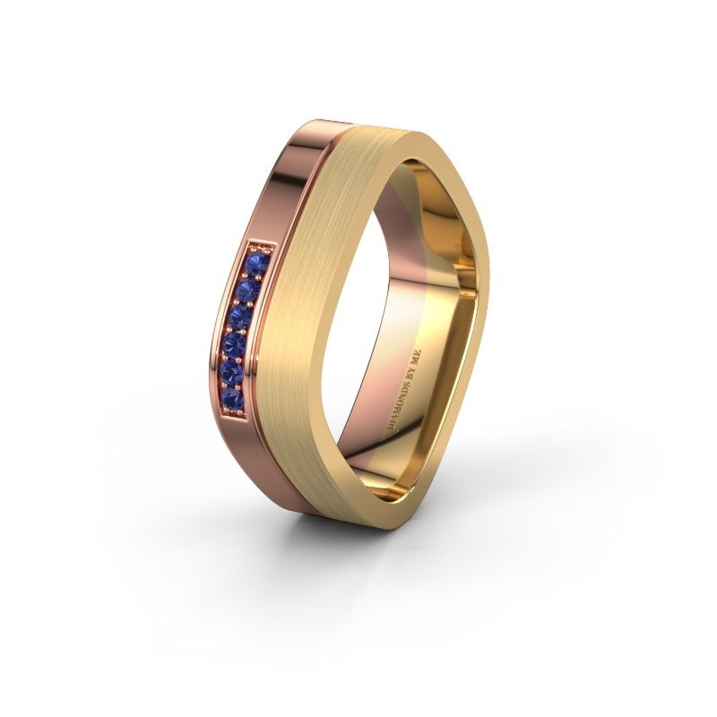 Wedding ring WH6030L16A 585 rose gold sapphire ±6x1.7 mm
