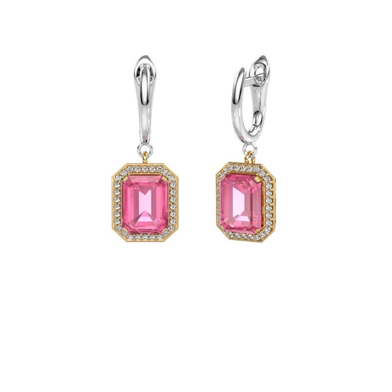Drop earrings Dodie 1 585 gold pink sapphire 9x7 mm