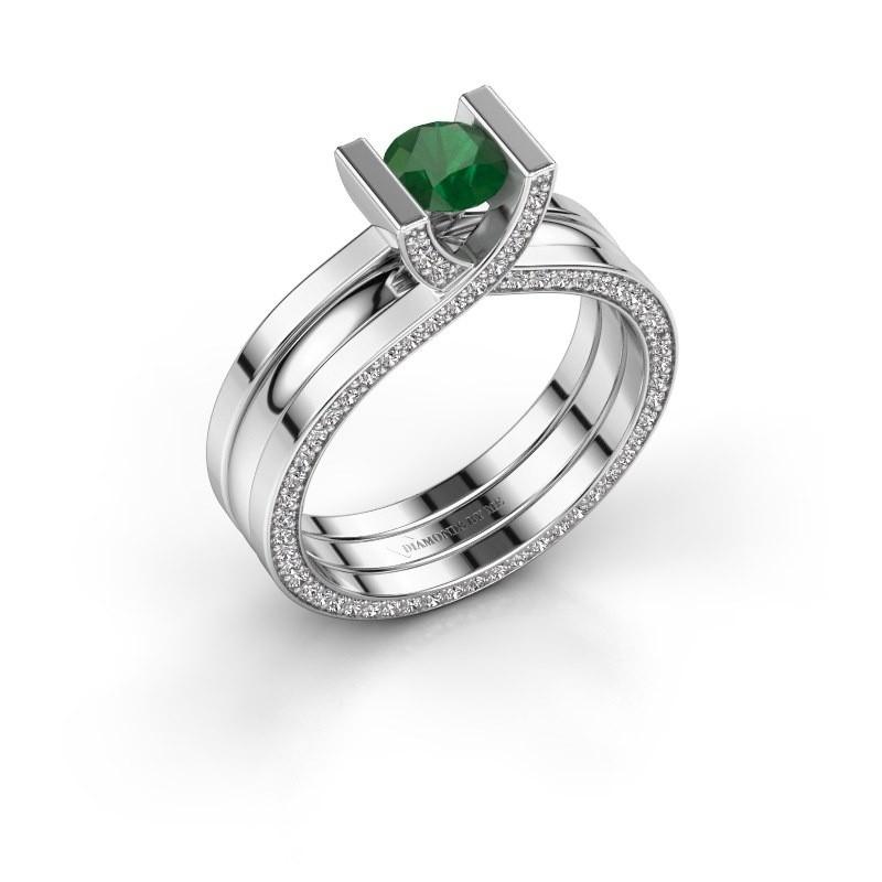 Verlovingsring Kenisha 925 zilver smaragd 5 mm