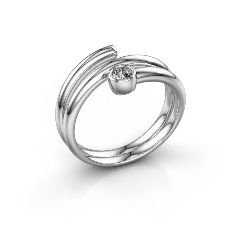 Ring Jenna 585 witgoud diamant 0.10 crt