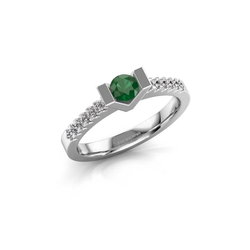 Verlovingsring Sherley 2 925 zilver smaragd 4 mm