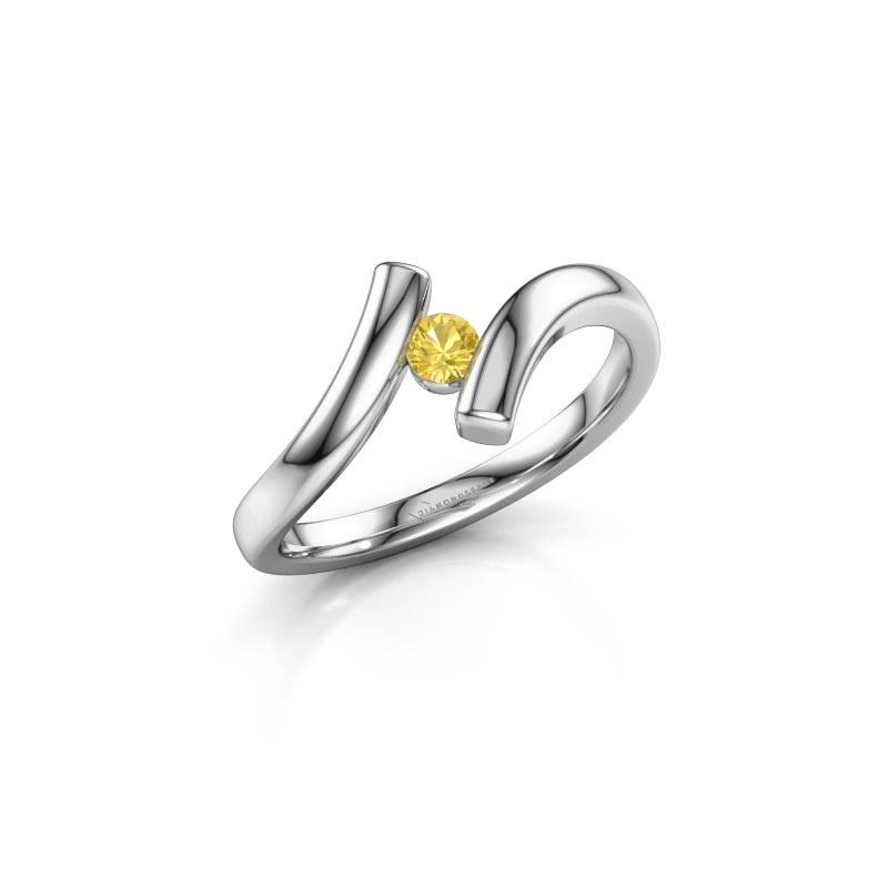 Ring Amy 925 zilver gele saffier 3 mm