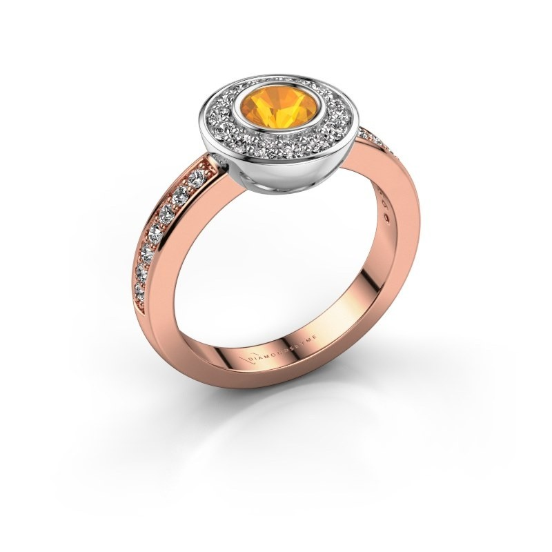 Ring Ivy 585 Roségold Citrin 5 mm