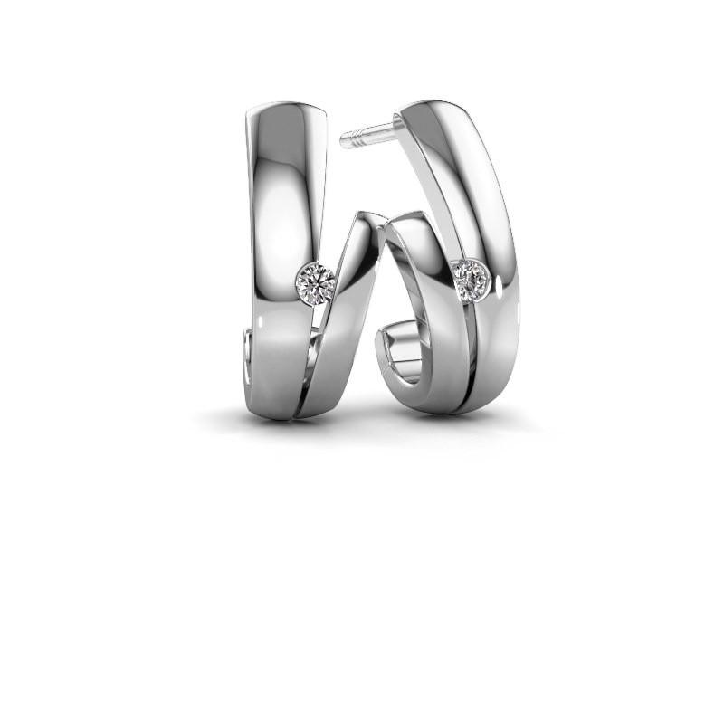 Earrings Shela 585 white gold zirconia 2 mm